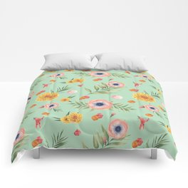Hand painted coral yellow watercolor geometric floral Comforters