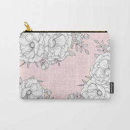 Line floral on pink Carry-All Pouch