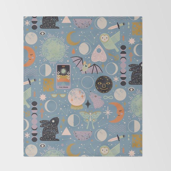 Lunar Pattern: Blue Moon Throw Blanket