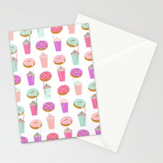 Coffee and Donuts pastel pink mint cute pattern gifts for valentines day love Stationery Cards