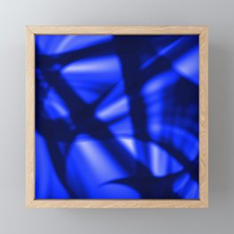 Crossing waves of light from smooth blue lines on the fibers of the veil with dark sparkling transit Framed Mini Art Print
