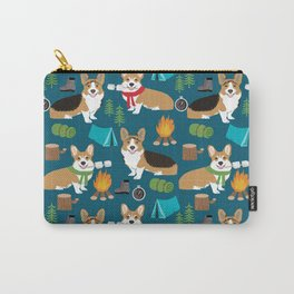 Corgi camping marshmallow roasting corgis outdoors nature dog lovers Carry-All Pouch