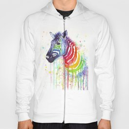 Zebra Watercolor Rainbow Animal Painting Ode to Fruit Stripes Hoody