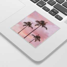 Palm Tree Photography Landscape Sunset Unicorn Clouds Blush Millennial Pink Sticker