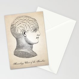 Phrenology Chart Illustration Human Anatomy Stationery Cards