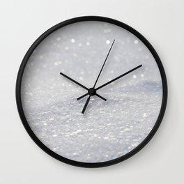 Silver Gray Glitter Sparkle Wall Clock