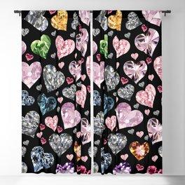 Heart Diamonds are Forever Love Black Blackout Curtain