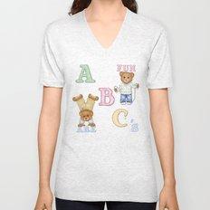 Teddy Bear Alphabet ABC's Unisex V-Neck
