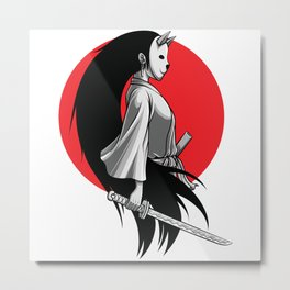 Neko Ninja Girl with Katana Metal Print