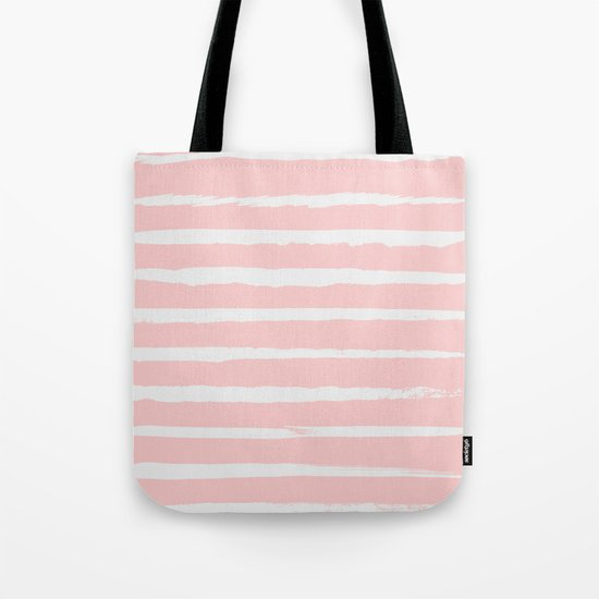 Irregular Hand Painted Stripes Pink Tote Bag