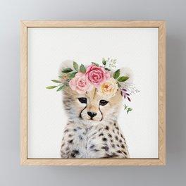 Baby Cheetah with Flower Crown Framed Mini Art Print