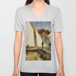Pierre-Auguste Renoir - The Seine At Argenteuil - Digital Remastered Edition Unisex V-Neck