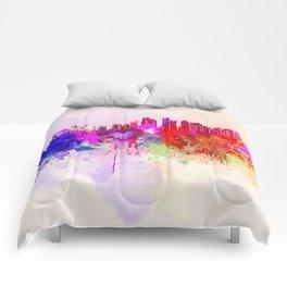 Doha skyline in watercolor background Comforters