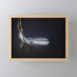 Feather on Water Framed Mini Art Print