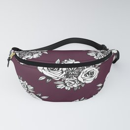 Burgundy Flower Pattern with White Flowers Fanny Pack