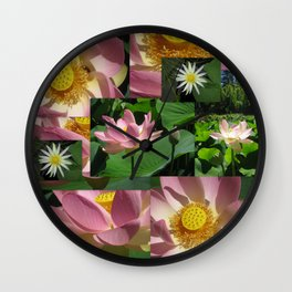 lotus photo photograph photography flower pink yellow green lotuses lilies lily pad picture of pond Wall Clock