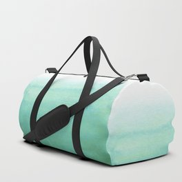 Modern hand painted green teal aqua watercolor ombre motif Duffle Bag