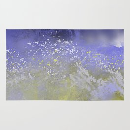 Blue and Gold Ocean Abstract Rug