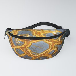 Bold Geometric Septarian Nodule Slice In Blue and Golden Yellow Fanny Pack