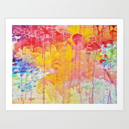 SUN SHOWERS - Beautiful Pastel Coloful Rain Clouds Bright Sky Abstract Acrylic Painting Art Print