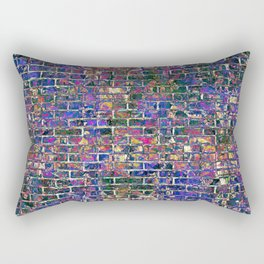 Blue Brick Grunge Wall Rectangular Pillow