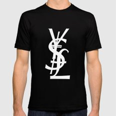 YSL Dollar Yen GBP Symbol X-LARGE Black Mens Fitted Tee