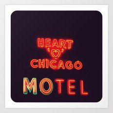 Heart 'O' Chicago Motel (Night) ~ vintage neon sign Art Print