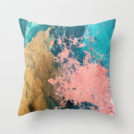 Coral Reef [1]: colorful abstract in blue, teal, gold, and pink Throw Pillow