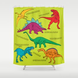 Dinosaur Print - Colors Shower Curtain
