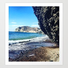 Santorini Cliff Art Print