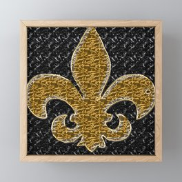 Black and Gold Fleur De Lis Framed Mini Art Print