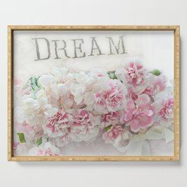 Dreamy Pink Roses Floral Print - Romantic Shabby Chic Dream Floral Home Decor Serving Tray