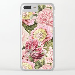Vintage & Shabby Chic Floral Peony & Lily Flowers Watercolor Pattern Clear iPhone Case