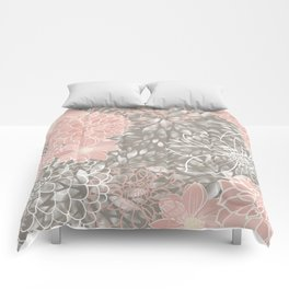 Floral Pattern Dahlias, Blush Pink, Gray, White Comforters