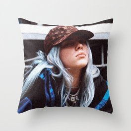 Billie Eilish with a LV hat Throw Pillow