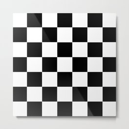 Traditional Black And White Chequered Start Flag Metal Print