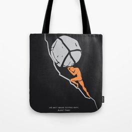 One Must Imagine Sisyphus Happy - Illustration - Albert Camus Quote Tote Bag