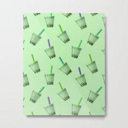 Bubble Tea Seamless Pattern Green Metal Print