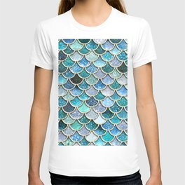 Multicolor Aqua Mermaid Scales - Beautiful Abstract Glitter Pattern T-shirt