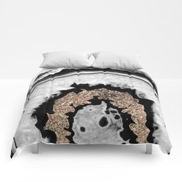 Gray Black White Agate with Gold Glitter #1 #gem #decor #art #society6 Comforters