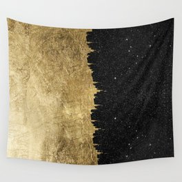 Faux Gold and Black Starry Night Brushstrokes Wall Tapestry