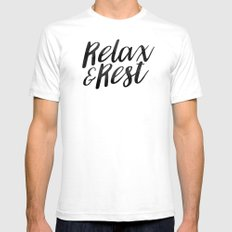 RELAX AND REST SMALL White Mens Fitted Tee