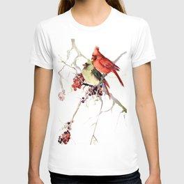 Cardinal Birds, birds art, two bird artwork cardinal bird T-shirt