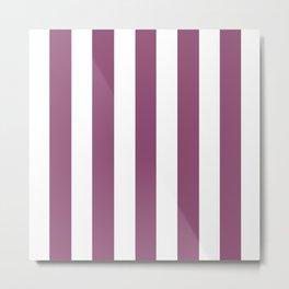 Sugar Plum violet - solid color - white vertical lines pattern Metal Print