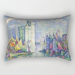 """Paul Signac  """"Arc-en-ciel, La Rochelle, le Port"""" Rectangular Pillow"""
