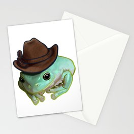 Howdy Howdy Cowboy Frog Funny Halloween Pet Costume Stationery Cards