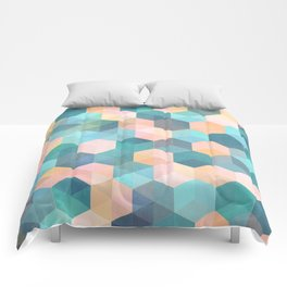 Child's Play 2 - hexagon pattern in soft blue, pink, peach & aqua Comforters