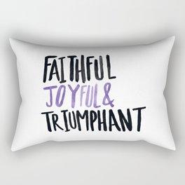 Faithful Joyful and Triumphant x Purple Rectangular Pillow