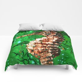 Sea Horse of the Emerald Sea Comforters
