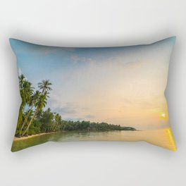 Tropical beach at sunset Rectangular Pillow